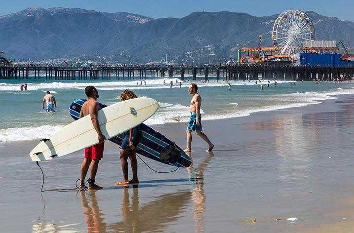 los angeles surfing - surfers on a beach