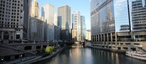Cell phone image of the Chicago River